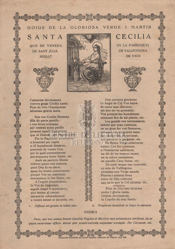 Goigs de la gloriosa verge i martir santa Cecilia que se venera en la parroquia de sant Juliá de Vallfogona, bisbat de Vich
