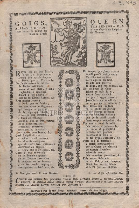 Goigs, que en alabansa de Nostra Senyora del Bon Succés se cantan en la sua Capellá de Puigderrá de la Ciutát de Manresa
