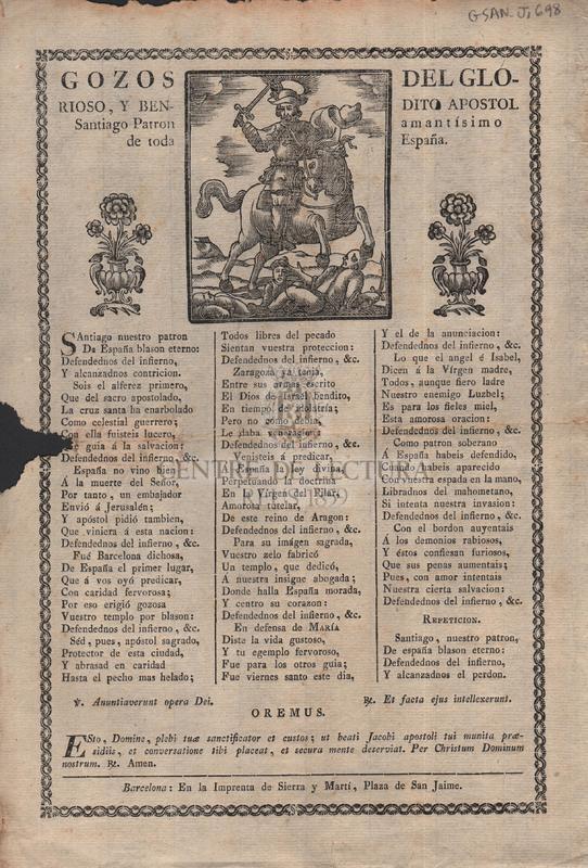 Gozos del glorioso, y bendito Apóstol Santiago, Patron amantísimo de toda España
