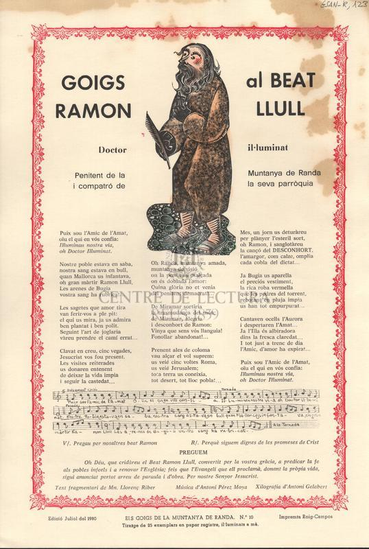Goigs al Beat Ramon Llull. Doctor il.luminat. Penitent de la Muntanya de Randa i compatró de la seva parròquia