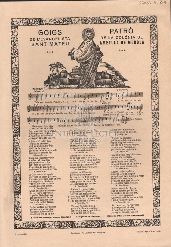 Goigs de l'evangelista Sant Mateu, patró de la colònia de Ametlla de Merola