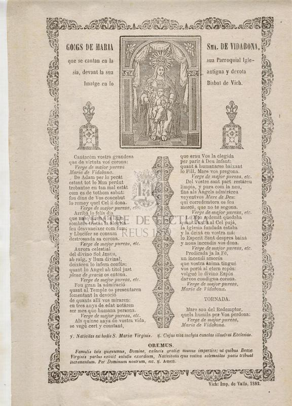 Goigs de Maria Sma. de Vidabona, que se cantan en la sua Parroquial Iglesia, devant la sua antigua y devota Imatge en lo Bisbat de Vich