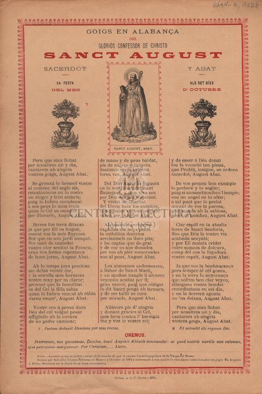 Goigs en alabança del gloriós confessor de Christo Sanct August. Sacerdot y Abat. Sa festa als set díes del mes d'Octubre