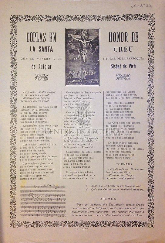 Coplas en honor de la Santa Creu que se venera y es titular de la parroquia de Jutglar Bisbat de Vich