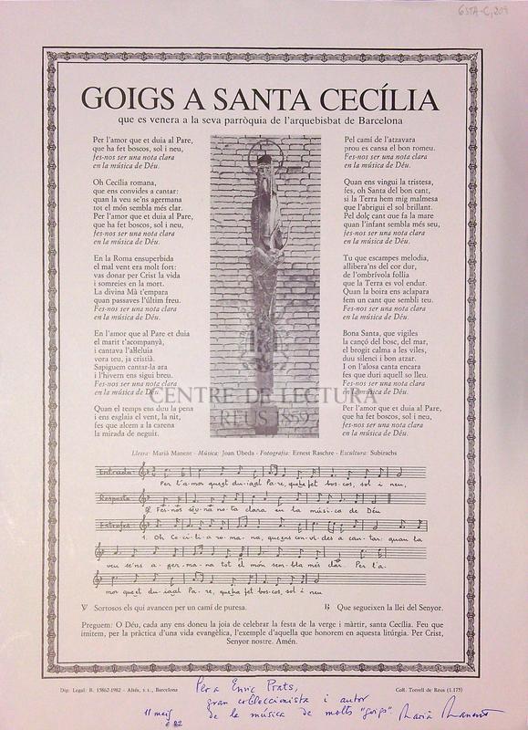 Goigs a Santa Cecília que es venera a la seva parròquia de l'arquebisbat de Barcelona