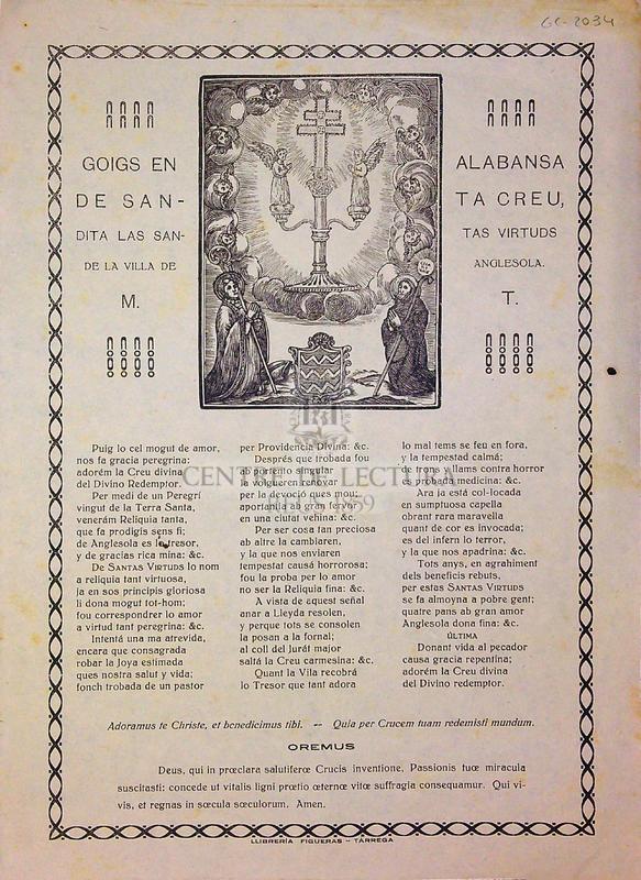 Goigs en alabansa de Santa Creu, dita las Santas Virtuds de la villa de Anglesola