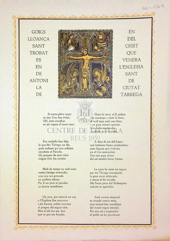 Goigs en lloança del Sant Crist trobat que es venera en l'església de Sant Antoni de la ciutat de Tàrrega