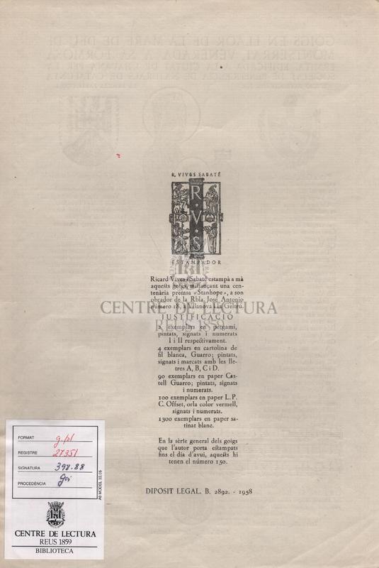 Goigs en llaor de la Mare de Deu de Montserrat, venerada a sa Formosa ermita, edificada a la ciutat de l'Havana per la Societat de Beneficiencia de Naturals de Catalunya.