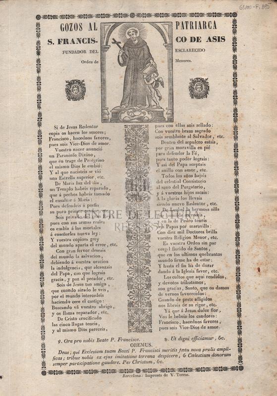 Gozos al patriarca S. Francisco de Asis, fundador del esclarecido Orden de Menores