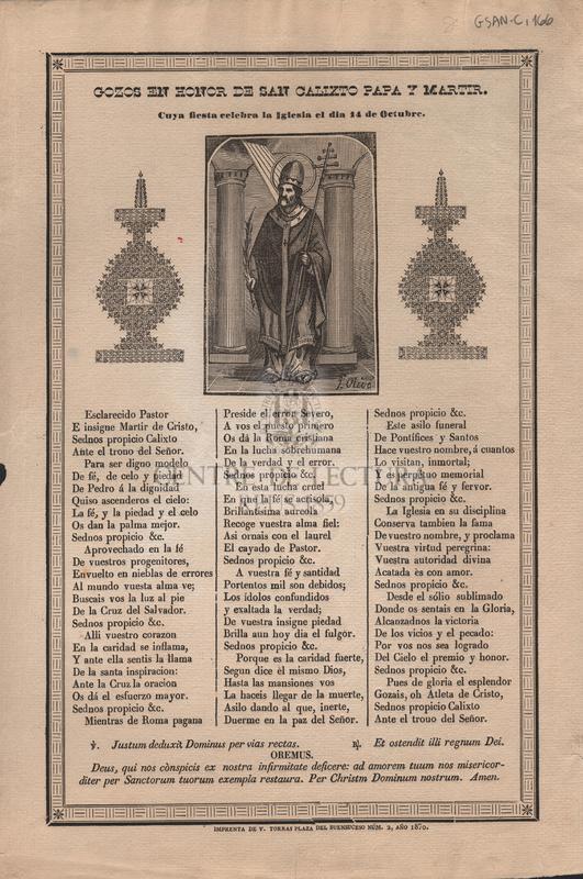 Gozos en honor de san Calixto papa y martir, Cuya fiesta celebra la Iglesia el dia 14 de Octubre