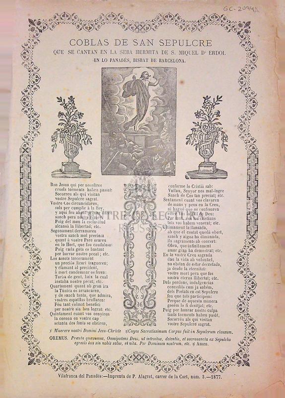 Coblas de Sant Sepulcre que se cantan en la seba hermita de S. Miquel d'Erdól en lo Panadés, Bisbat de Barcelona