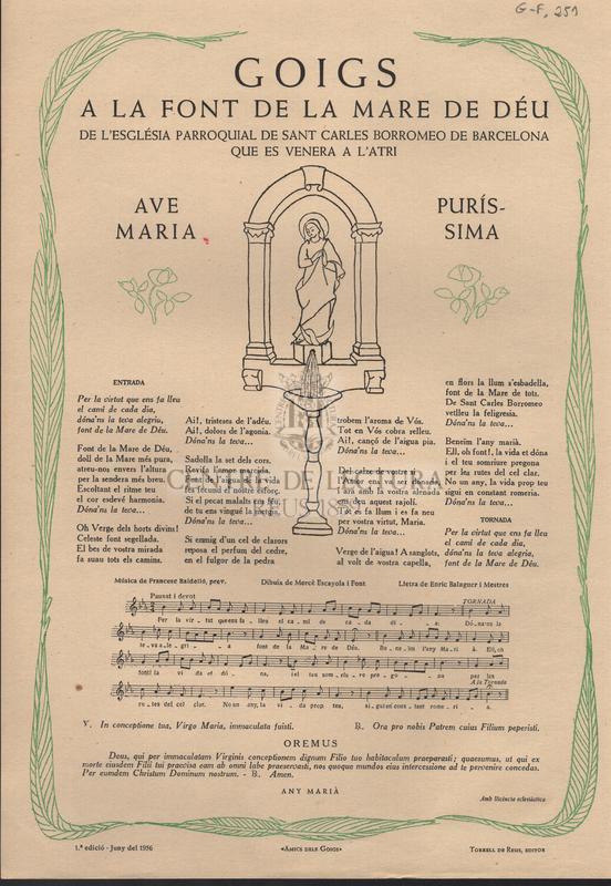 Goigs a la Font de la Mare de Déu de l'església parroquial de sant Carles Borromeo de Barcelona que es venera a l'Atri.