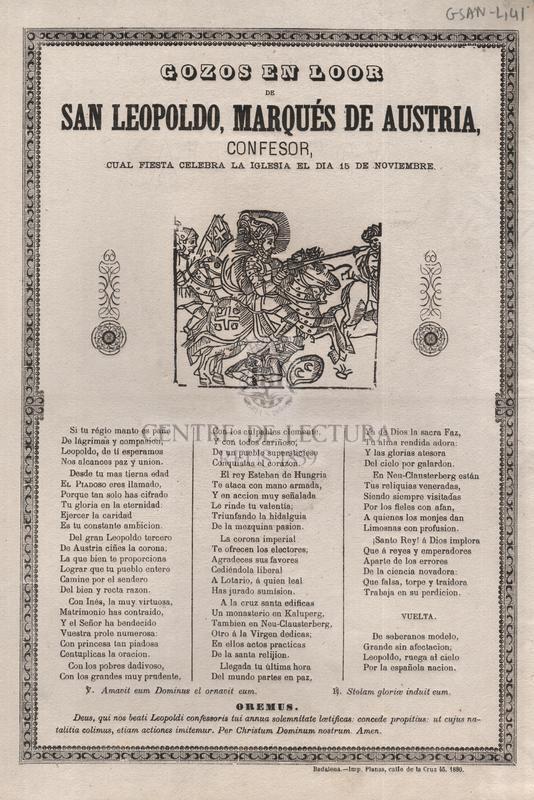Gozos en loor de san Leopoldo, marqués de Austria, confesor, cual fiesta celebra la iglesia el dia 15 de noviembre