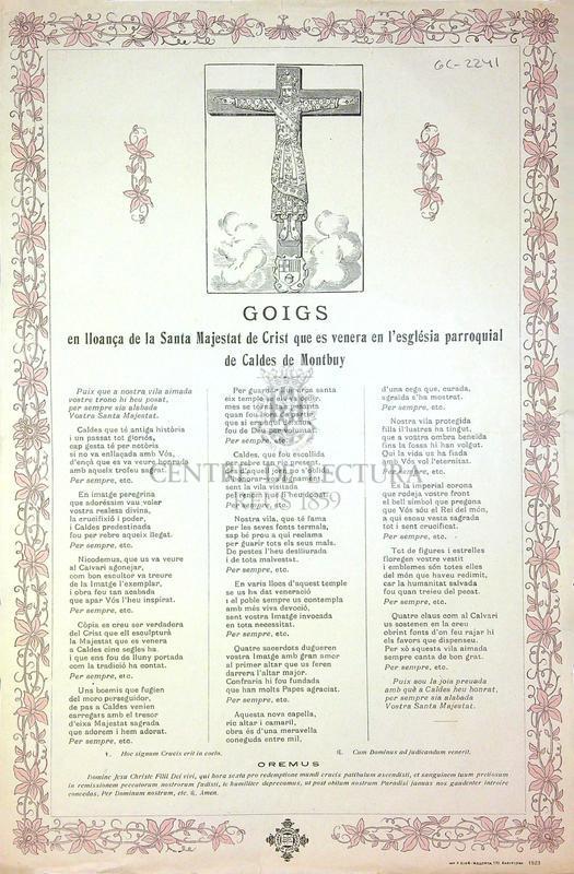 Goigs en lloança de la Santa Majestat de Crist que es venera en l'església parroquial de Caldes de Montbuy