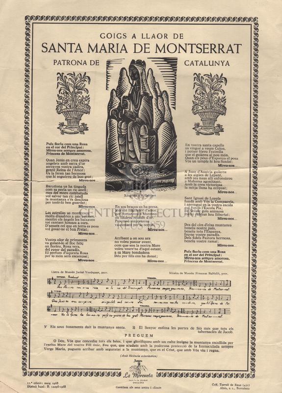Goigs a llaor de Santa Maria de Montserrat Patrona de Catalunya.