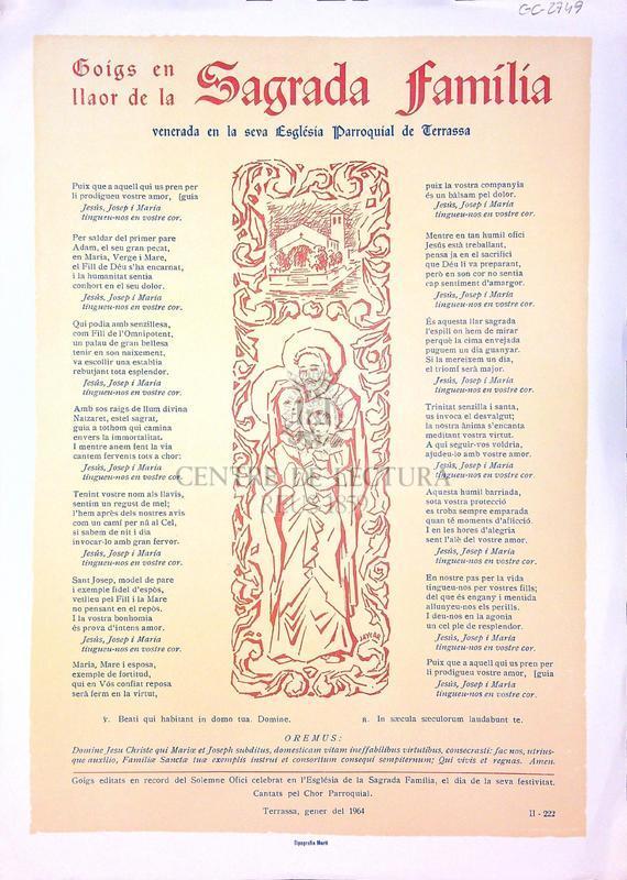 Goigs en llaor de la Sagrada Família venerada en la seva Església Parroquial de Terrassa