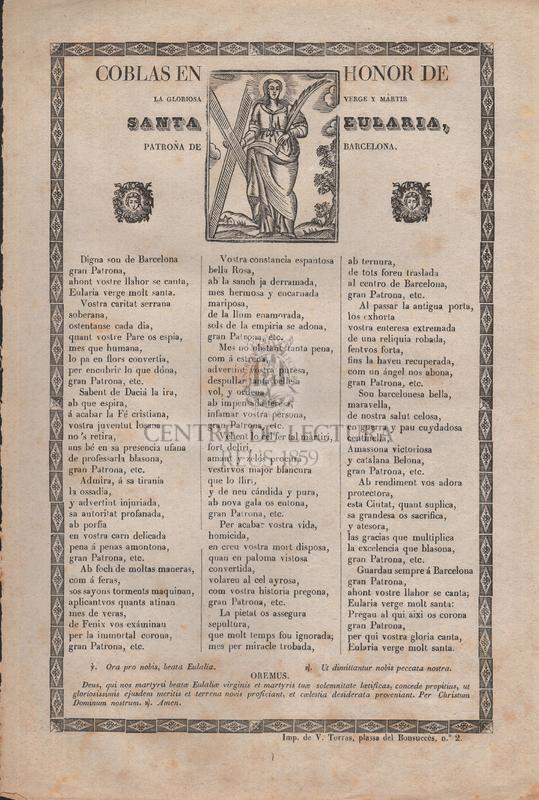 Coblas en honor de la gloriosa verge y mártir santa Eularia, patrona de Barcelona