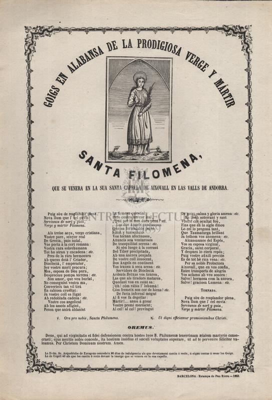 Goigs en alabansa de la prodigiosa verge y mártir santa Filomena, que se venera en la sua capella de Aixovall en las valls de Andorra