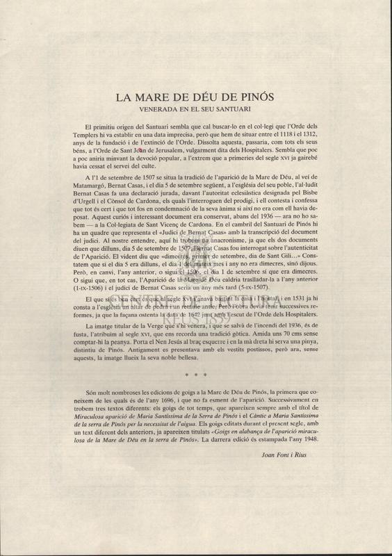 Cántich a Maria Santíssima de la Serra de Pinós, per la necessitat de aygua