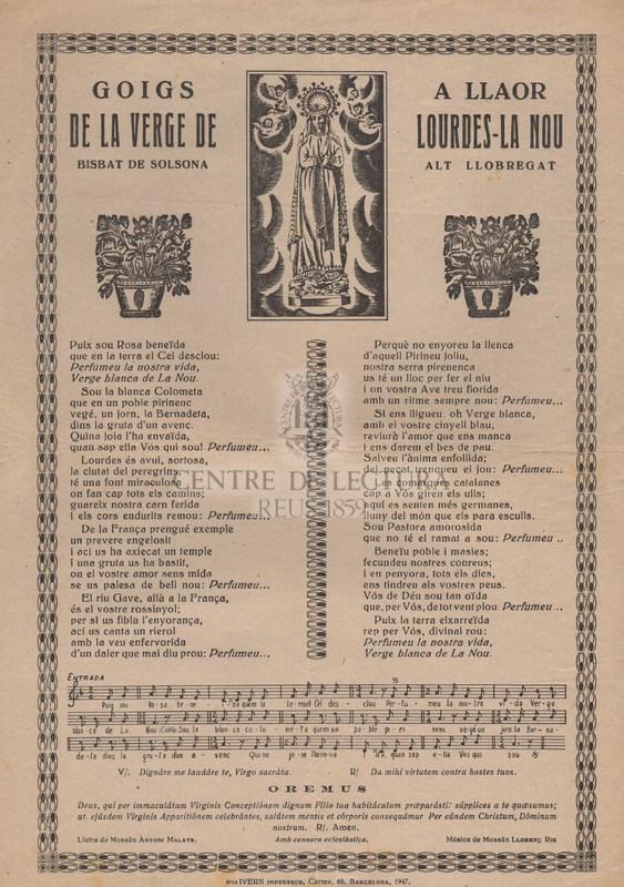 Goigs a llaor de la Verge de Lourdes-La Nou Bisbat de Solsona, Alt Llobregat.