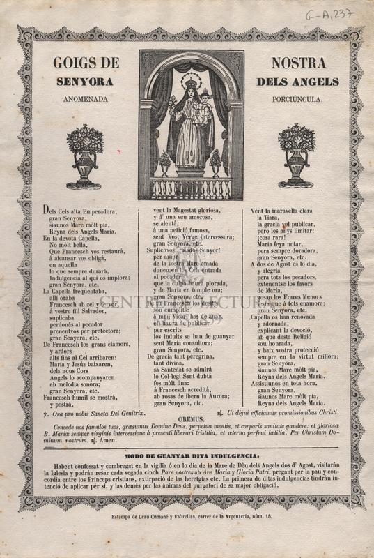 Goigs de Nostra Senyora del Angels anomenada Porciúncula