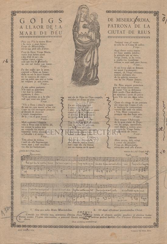 Goigs a llaor de la Mare de Déu de Misercordia patrona de la Ciutat de Reus