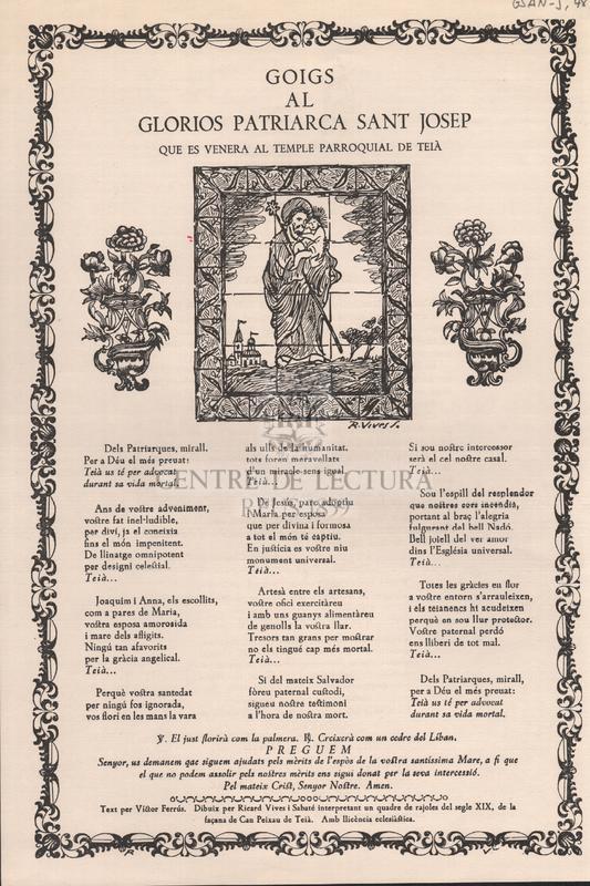 Goigs al glorios Patriarca Sant Josep, que es venera al Temple Parroquial de Teià