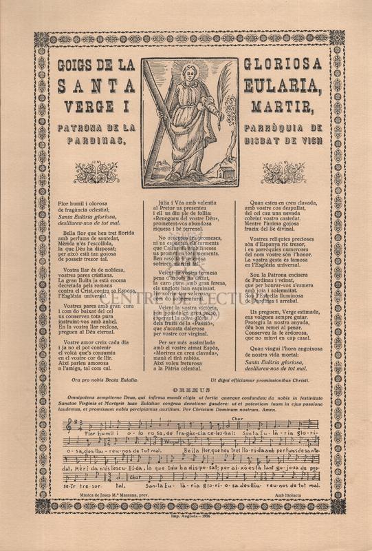 Goigs de la gloriosa santa Eularia, verge i martir, patrona de la parròquia de Pardinas, bisbat de Vich