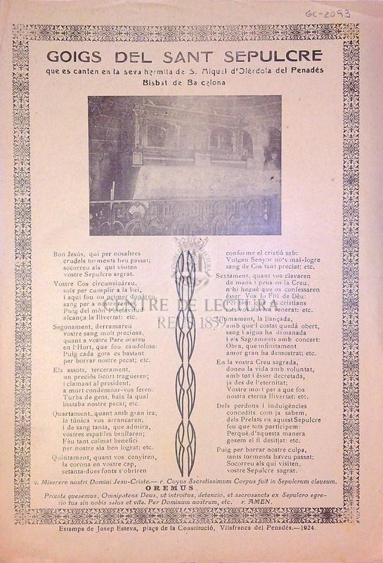 Goigs del Sant Sepulcre que es canten en la seva hermita de S. Miquel d'Olérdola del Penedés, Bisbat de Barcelona