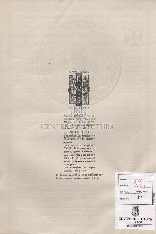 Goigs a llaor de Santa Maria de Montserrat venerada a Garraf, en la cova submarina i veritable santuari natural, obert als peus de la Falconera on fou dipositada el dia 18 de juliol de l'any del Senyor 1954.