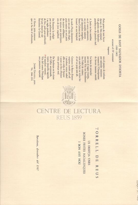 Goigs de Sant Salvador d'Horta (1520-1567), evocant el IV centenari