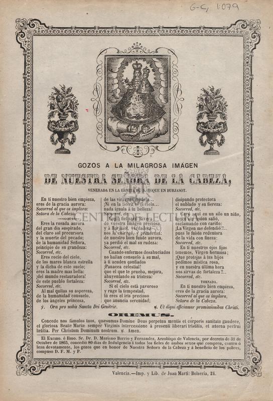 Gozos a la milagrosa imagen de nuestra señora de la Cabeza, venerada en la ermita de S. Roque en Burjasot
