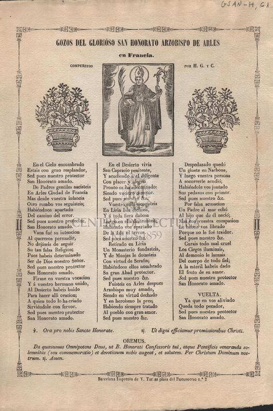 Gozos del glorioso San Honorato Arzobispo de Arles en Francia