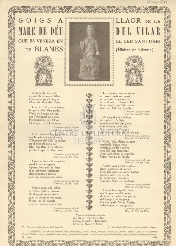 Goigs a llaor de la Mare de Déu del Vilar que es venera en el seu Santuari de Blanes (Bisbat de Girona)