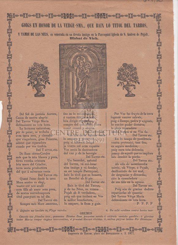Goigs en honor de la Verge Sma. que baix lo titol del Tarros y també de las Néus, es venerada en sa devota imatge en la Parroquial Iglesia de S. Andreu de Pujalt. Bisbat de Vich