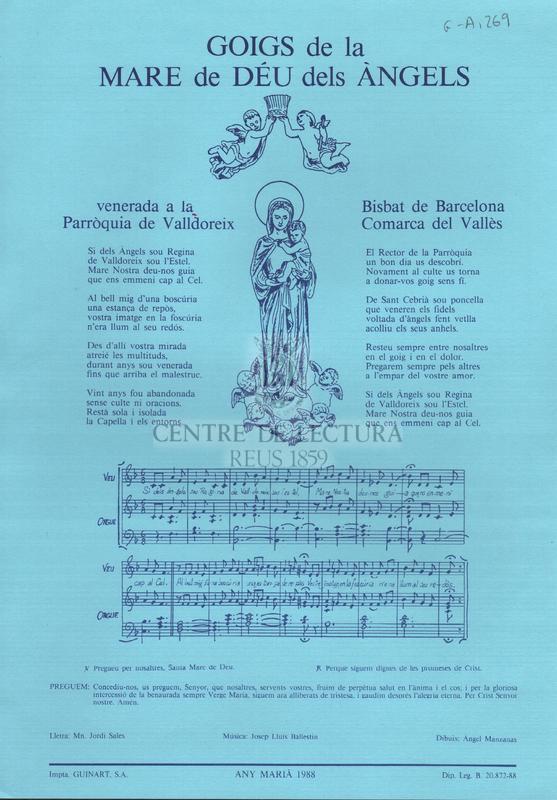 Goigs de la Mare de Déu dels Àngels venerada a la Parròquia de Valldoreix Bisbat de Barcelona Comarca del Vallès