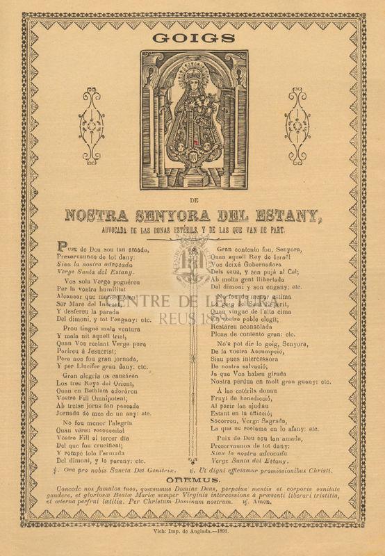 Goigs de Nostra Senyora del Estany, advocada de las donas estérils, y de las que van de part