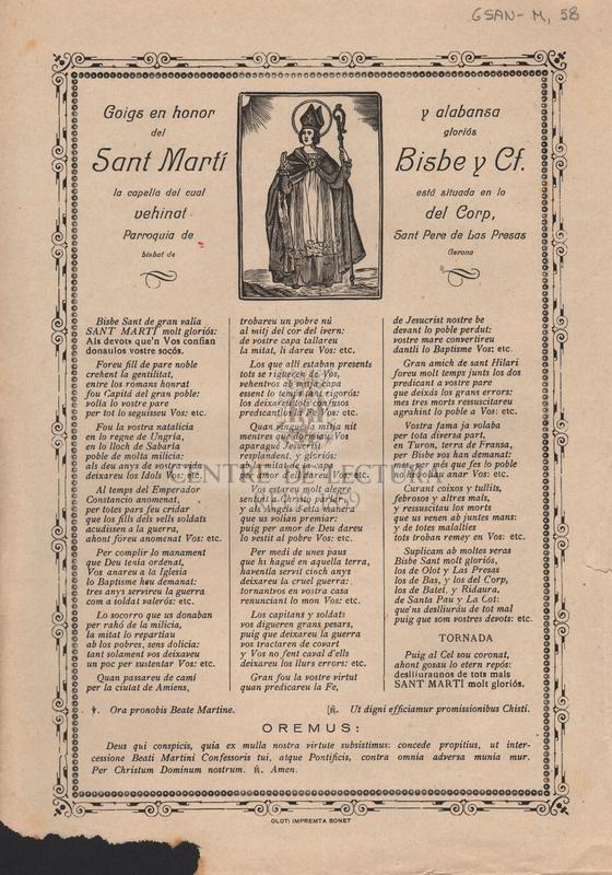 Goigs en honor y alabansa del Sant Martí Bisbe y Cf. la capella del cual está situada en lo vehinat del Corp, Parroquia de Sant Pere de Las Presas bisbat de Gerona