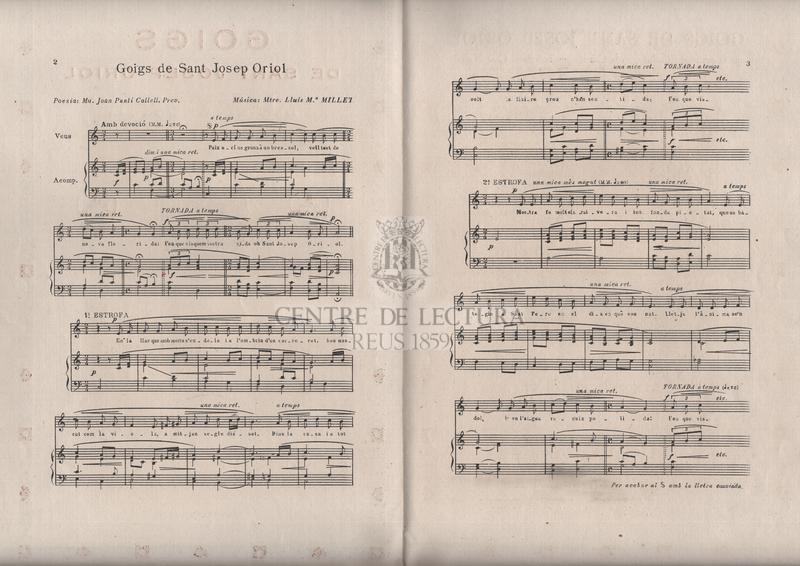 Goigs de Sant Josep Oriol que es canten a Barcelona en la Capella gentilícia de sa Casa Nadiua