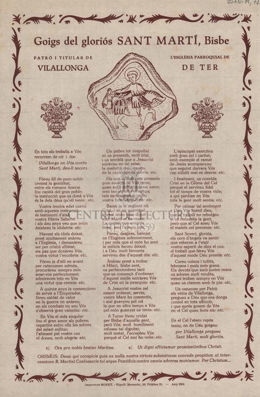 Goigs del gloriós Sant Martí, Bisbe. Patró i titular de l'església parroquial de Vilallonga de Ter
