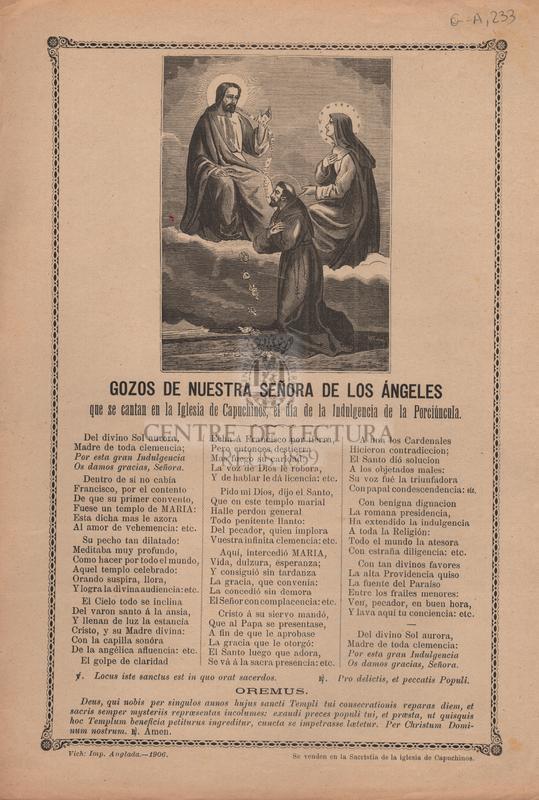 Gozos de nuestra señora de los Ángeles que se cantan en la Iglesia de Capuchinos, el día de la Indulgencia de la Porciúncula