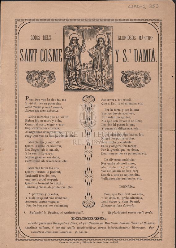 Goigs dels gloriosos mártirs Sant Cosme y S.t Damiá