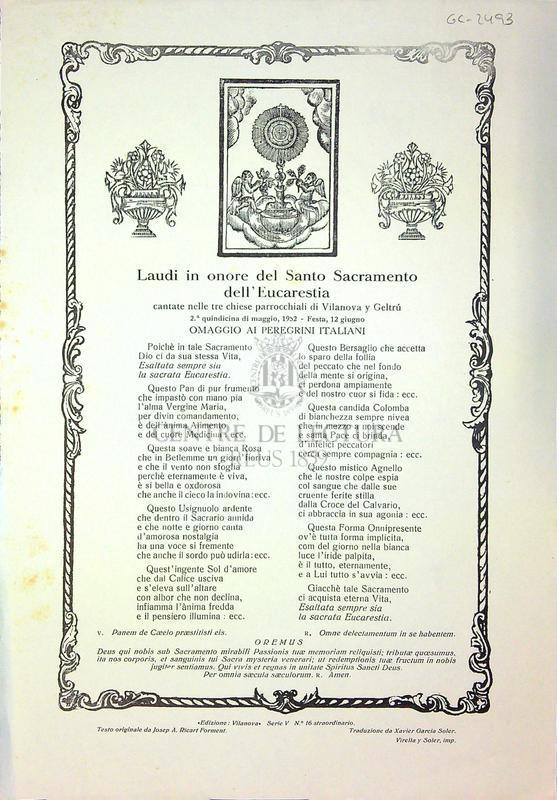 Laudi in onore del Santo Sacramento dell'Eucarestia cantate nelle tre parrocchiali di Vilanova y Geltrú