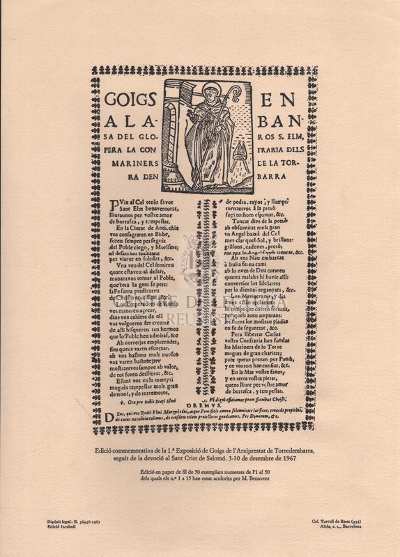 Goigs en alabansa del gloros S. Elm, pera la confraria dels mariners de la Torra den Barra