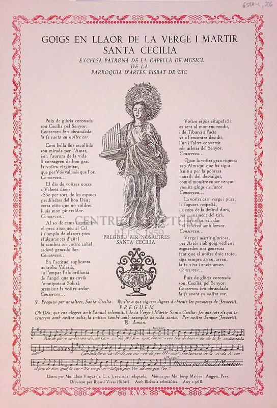 Goigs en llaor de la verge i martir santa Cecilia excelsa patrona de la capella de musica de la parroquia d'Artes, Bisbat de Vic
