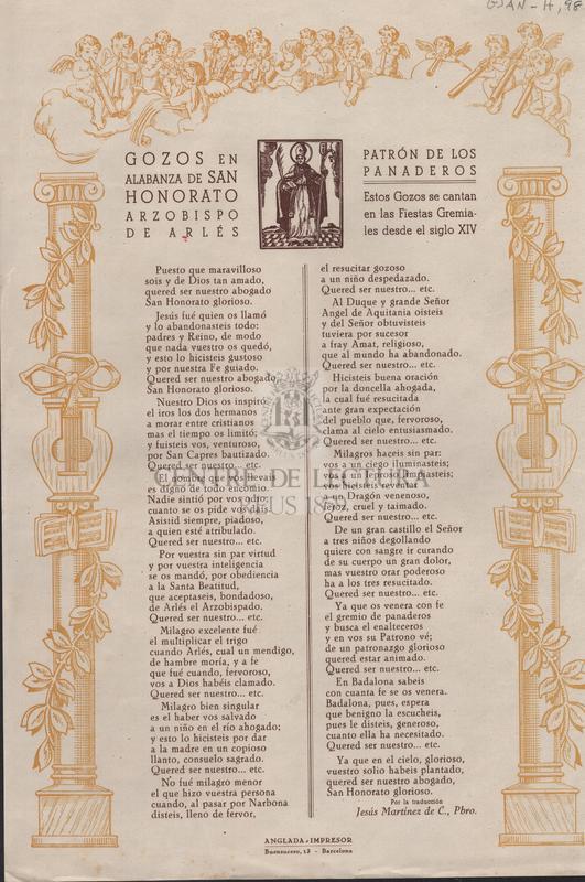 Gozos en alabanza de San Honorato Arzobispo de Arlés. Patrón de los panaderos. Estos Gozos se cantan en las Fiestas Gremiales desde el siglo XIV