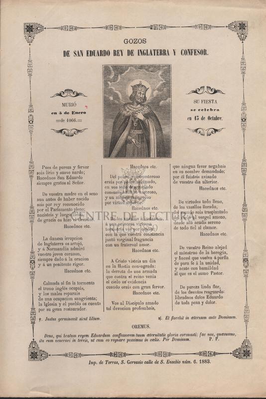 Gozos de San Eduardo Rey de Inglaterra y confesor. Murió en 5 de enero de 4066. Su fiesta se celebra en 13 de octubre