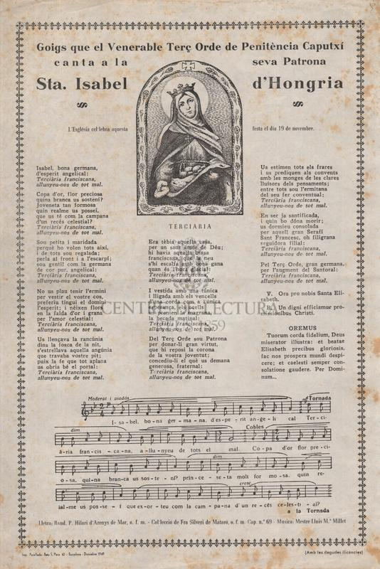 Goigs que el Venerable Terç Orde de Pentiència Caputxí canta a la seva Patrona Sta. Isabel d'Hongria, L'Església cel·lebra aquesta festa el dia 19 de novembre