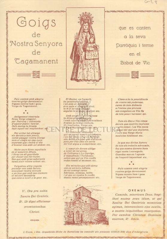 Goigs de Nostra Senyora de Tagamanent que es canten a la seva Parròquia i terme en el Bisbat de Vic