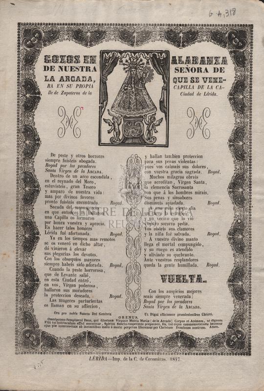Gozos en alabanza de Nuestra Señora de la Arcada, que se venera en su propia capilla de la calle de Zapateros de la Ciudad de Lérida